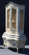 Painted Swedish Gustavian Two Piece Bookcase Commode Display Cabinet C1940s