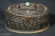 Stunning Antique Egyptian Revival Bronze Box With Phenomenal Decoration Fine