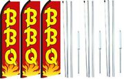 Bbq Swooper Flag With Complete Hybrid Pole Set- 3 Pack
