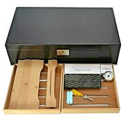 Lockable Black Lacquer Cigar Humidor With Humidifier And Hygrometer Valentino-noir