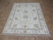 7and03911 X 9and03911 Hand Knotted Ivory Peshawar Oushak Oriental Rug G5621