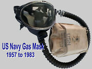 Cold War Era Gas Mask - Us Navy Md Mark 5 Filter Canisters Not Included