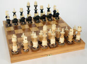 Chess Set, Hand Carved Wood And Bone, With Board Storage Base