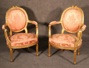 Best Pair French Gilded Carved Louis Xvi Fauteuils Armchairs C1870s Silk