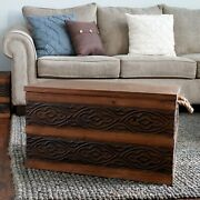 Storage Trunk Coffee Table Hope Chest Wooden Metal Scrollwork W Rope Handles