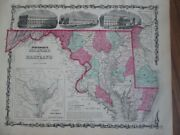 1862 Johnson Map Of Delaware And Maryland Original Antique A9