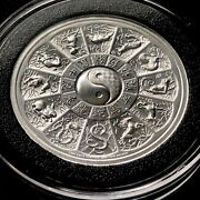 Chinese Zodiac Andndash Year Of The Pig 2 Oz 39mm 999 Fine Silver High Relief Medal 20