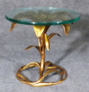 Gorgeous Gilded Metal Arthur Court Lily Flower End Table