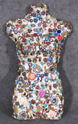 Rare And Unique Jeweled Mannequin Torso With Brootches Jewels Stones Pins C1960