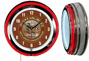 Ducks Unlimited Wetland Sign 19 Red Double Neon Clock Man Cave Garage Chrome