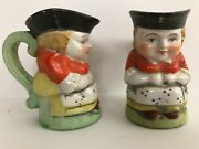 Vintage Small Toby Mugs Made In Japan Set Of 2 Identical 3 Tall