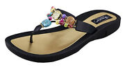 Grandco Womenandrsquos Marble Deluxe Thong Jeweled Slip-on Flat Beaded Sandals