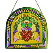 Claddagh Ring Stained Glass Window Wall Hanging Arched Irish Home Decor 6.3x6.3″