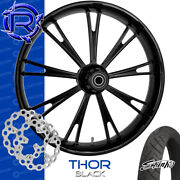 Rotation Thor Black Custom Motorcycle Wheel Front Package Harley Touring 26