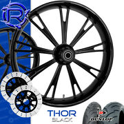 Rotation Thor Black Custom Motorcycle Wheels Package Harley Touring Baggers