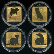Canada 24-karat Gold Plated Silver Proofs Wildlife Conservation Series 4-coins