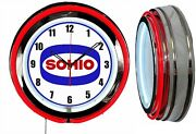 Sohio Gas And Oil 19 Double Neon Clock Red Neon Man Cave Garage Gas Station