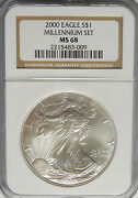 2000 Millennium Set Ms68 Ngc Brown Label American Eagle Silver Coin 024