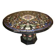 42 Marble Coffee Table Top Semi Precious Stones Inlay With Marble Stand