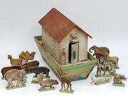 Antique 19c. Folk Art Carved Wood Toy Noah's Ark Toy With 19 Figures