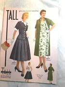 Vtg Mint 1956 Tall Girls 5' 7 Spring/ Summer Fashion's Clothing/ Acces. Catalog