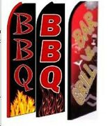 Bbq, Bar And Grill King Size Swooper Flag Sign W/complete 3 Set