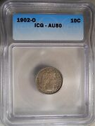 1902-o Au50 Certified Icg Barber Dime 10 C Cent Coin 117