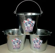 New 3 Pabst Blue Ribbon Pbr Beer Party Ice Bucket Lot Galvanized Metal Cooler