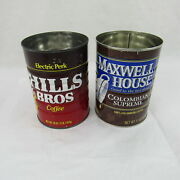Coffee Tin Cans Hills Bros Maxwell House Vintage Collectible Red Brown Keepsake