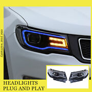 For Jeep Compass Headlights Double Xenon Beam Hid Projector Led Drl 2018-2020