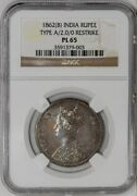 1862b Indian Rupee Type A/2.0/0 Restrike Pl65 Ngc 934512-30