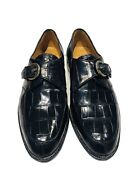 Church's Prima Classe Glossy Black Alligator Buckle Men's Loafers Shoes