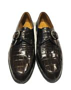Church's Prima Classe Glossy Brown Alligator Buckle Men's Loafers Shoes