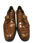 Bruno Magli Newton Elite Glossy Brown Alligator Buckle Menandrsquos Loafers Shoes