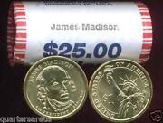 H/t 2007 P Mint James Madison 25 Gold Dollar Roll Cheap Free Shipping