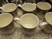 Mikasa Garden Square Bottom Cac 29 Harvest 3.5 Inch Mugs 8 Ounce Lot Of 6