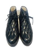 Hunting World Black Quilted Leather Lace Up Menandrsquos Ankle Boots Shoes