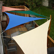 Heavy Duty Steel Wire Sun Shade Sail Beige Triangle Patio Top Canopy+free 8 Kit