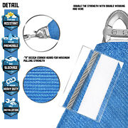 Heavy Duty Blue 32 40 48ft Steel Wire Rectangle Sun Shade Sail Top Pool+ 8 Kit