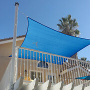 Blue Heavy Duty 17 18 21ft Steel Wire Sun Shade Sail Patio Pool Cover+free Kit