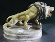 Rare Carved Marble Grand Tour French Lion W Mane Lamp Very Unique C1920s