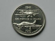 Cfb Portage La Prairie 1981 Trade Dollar Token With Rcaf Tiger Moth And Musketeer