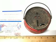 Early Vintage 1800and039s Nickel Resister Rare Red Kettle Cast Iron Mechanical Bank