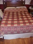 Vintage Cotton Trade Blanket Red And Tan W/ Wagon Wheel Design