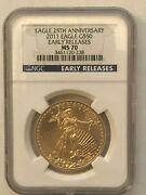 2011 Ngc 50 Ms70 25th Anniversary Gold American Eagle - Early Releases