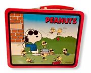 Vintage Peanuts Snoopy 1989 Metal /tin Lunchbox Excellent Condition