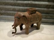 Antique Vintage Cast Iron Elephant Pull Penny Coin Bank