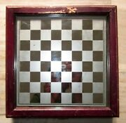 Antique Old Glass Chess Board With Box Old Collectible Chess Game Board