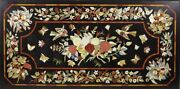 48 X 24 Marble Center Table Top Semi Precious Stones Marquetry Inlay Work