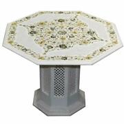 24 Marble Table Top Semi Precious Stones Inlay Handicraft With Marble Stand